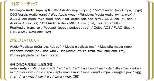 オーディオ対応コーデック